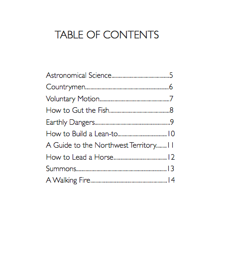 Table of Contents-Josh Wallaert-Guide to NW Territory