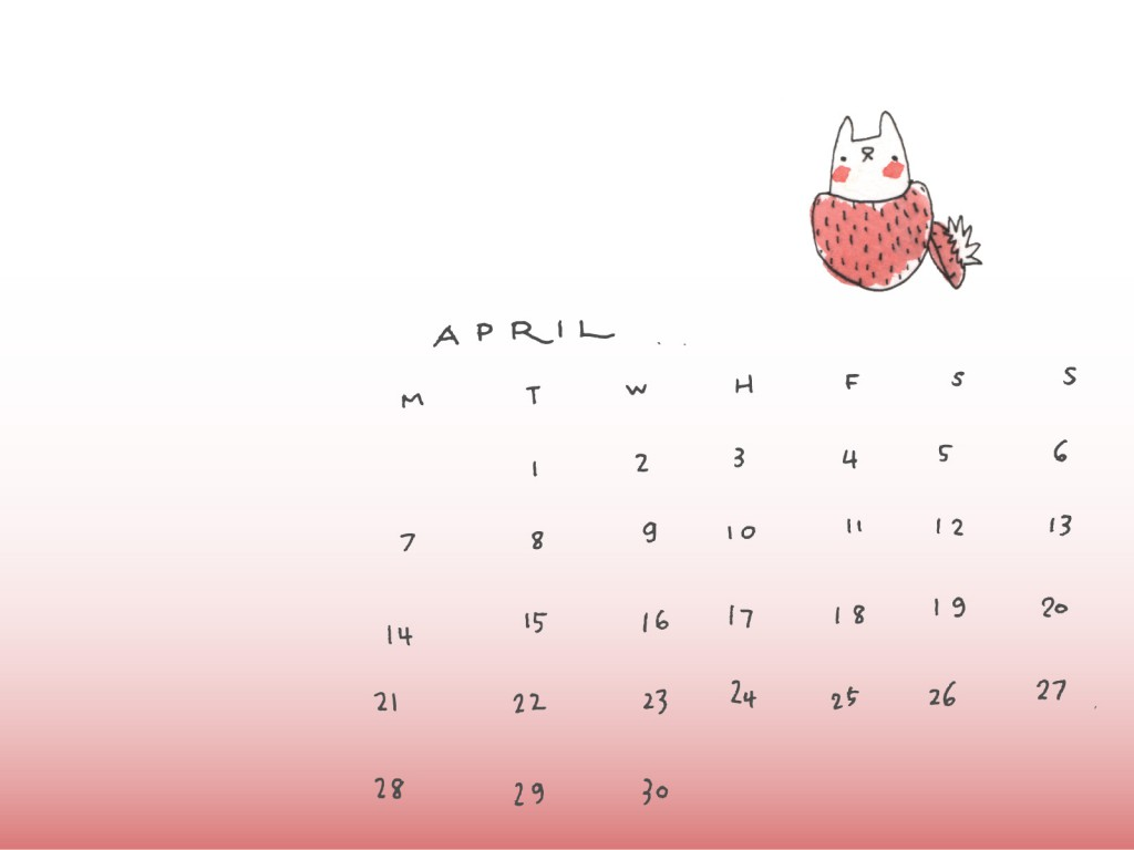 april free desktop calendar MIEL