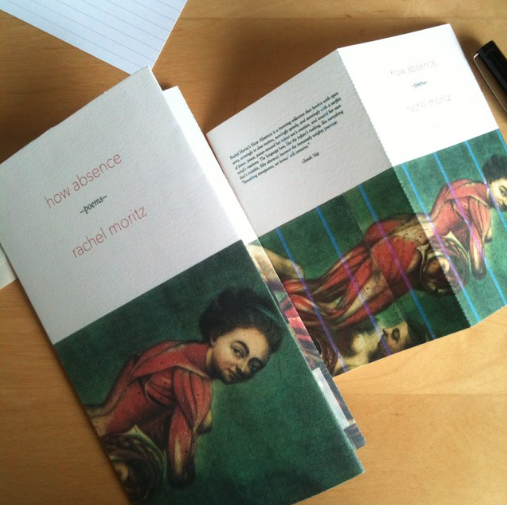 Two proof covers of Rachel Moritz's chapbook HOW ABSENCE, which feature an anatomical drawing of a woman on them.