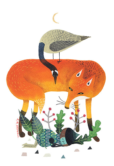 A gouache painting of a goose standing on a fox, looking at some plants.